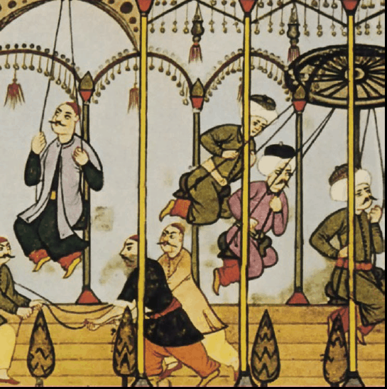 Detail from an illustration by Levni, showing the Festival Chronicle of Vehbi (Surna-me-i Vehbi). Unesco World Art Series: Turkey, Ancient Miniatures. Paris 1961