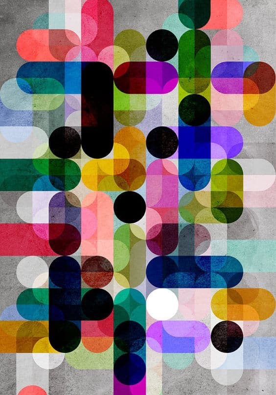 Multi Colour Geometric Giclee Print 30x40cm by DavesPrintShop